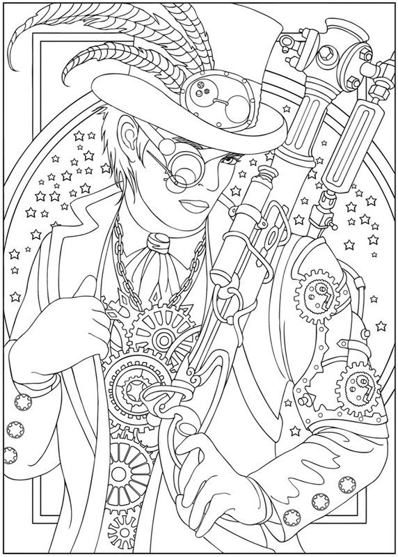 Steampunk coloring page Steampunk Pinterest