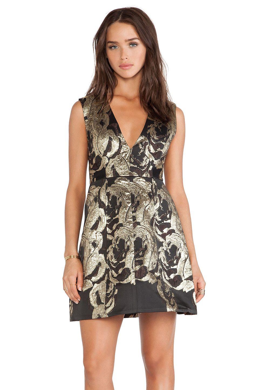 Alice olivia pacey lantern dress in black black u gold dresses