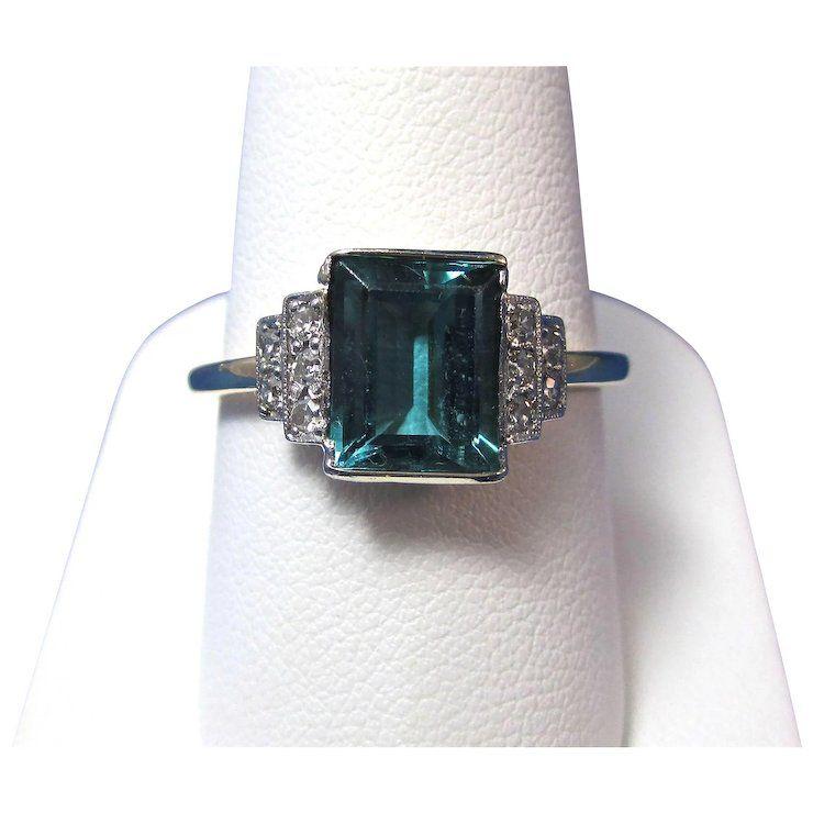 Photo of Vintage Art Deco 1920's Tourmaline Vintage Engagement Wedding Birthstone Ring 14K