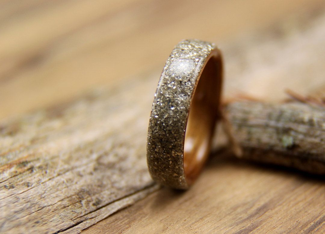 Bentwood ring hawaiian koa with silver german glass glitter