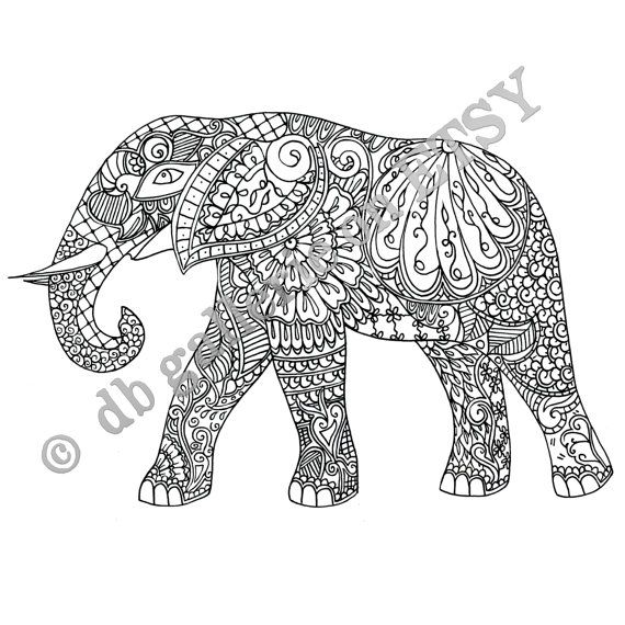 Adult coloring poster Elephant print by dbgallerie on Etsy