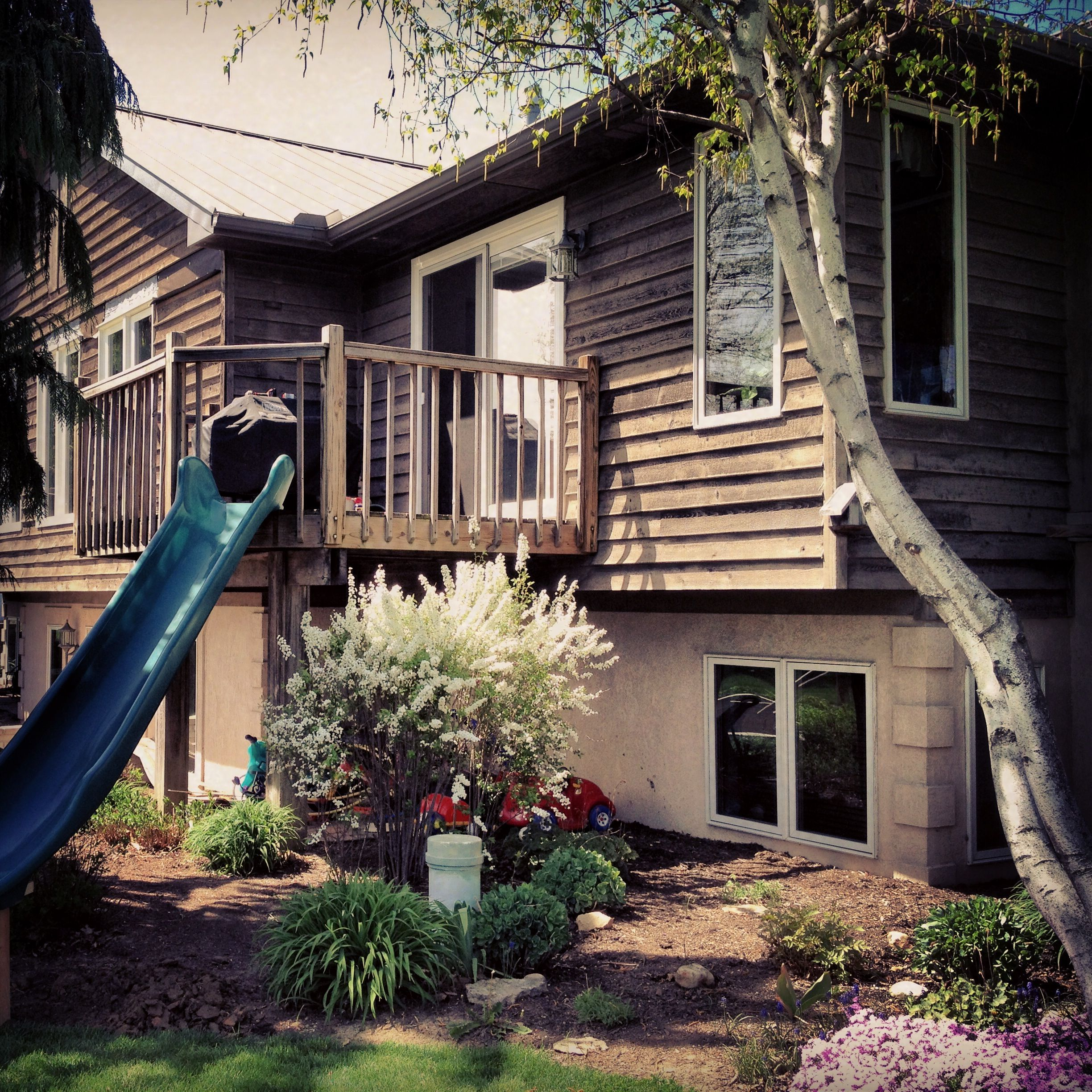 Pin By Erin Morrison On For The Home Second Story Deck Deck Stairs Garden Stairs