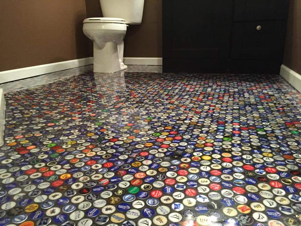 Beer Cap Bathroom Floor Bathroom Floors Diy Diy Flooring