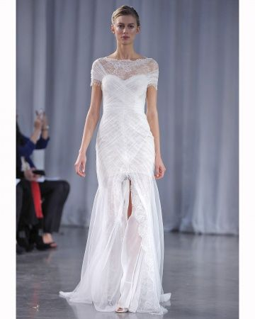 Monique Lhuillier Fall 2013 Bridal  Cap sleeve wedding dress