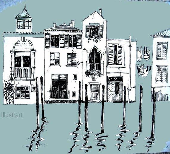 Venise Maisons Imprimer Une Giclee De Dessin Original Ville