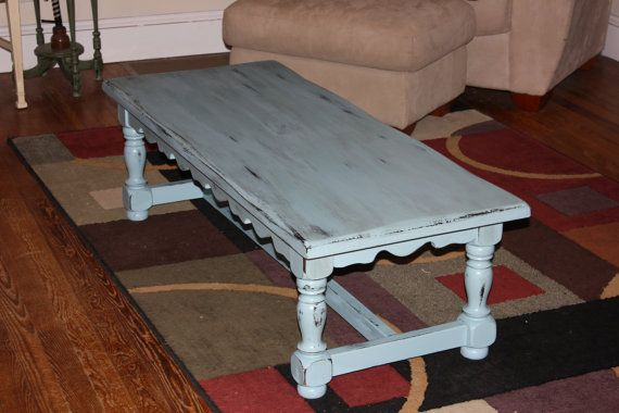 Light Blue Rustic Distressed Coffee Table By Ladygucci On Etsy 195 00 Distressed Coffee Table Coffee Table Dining Table