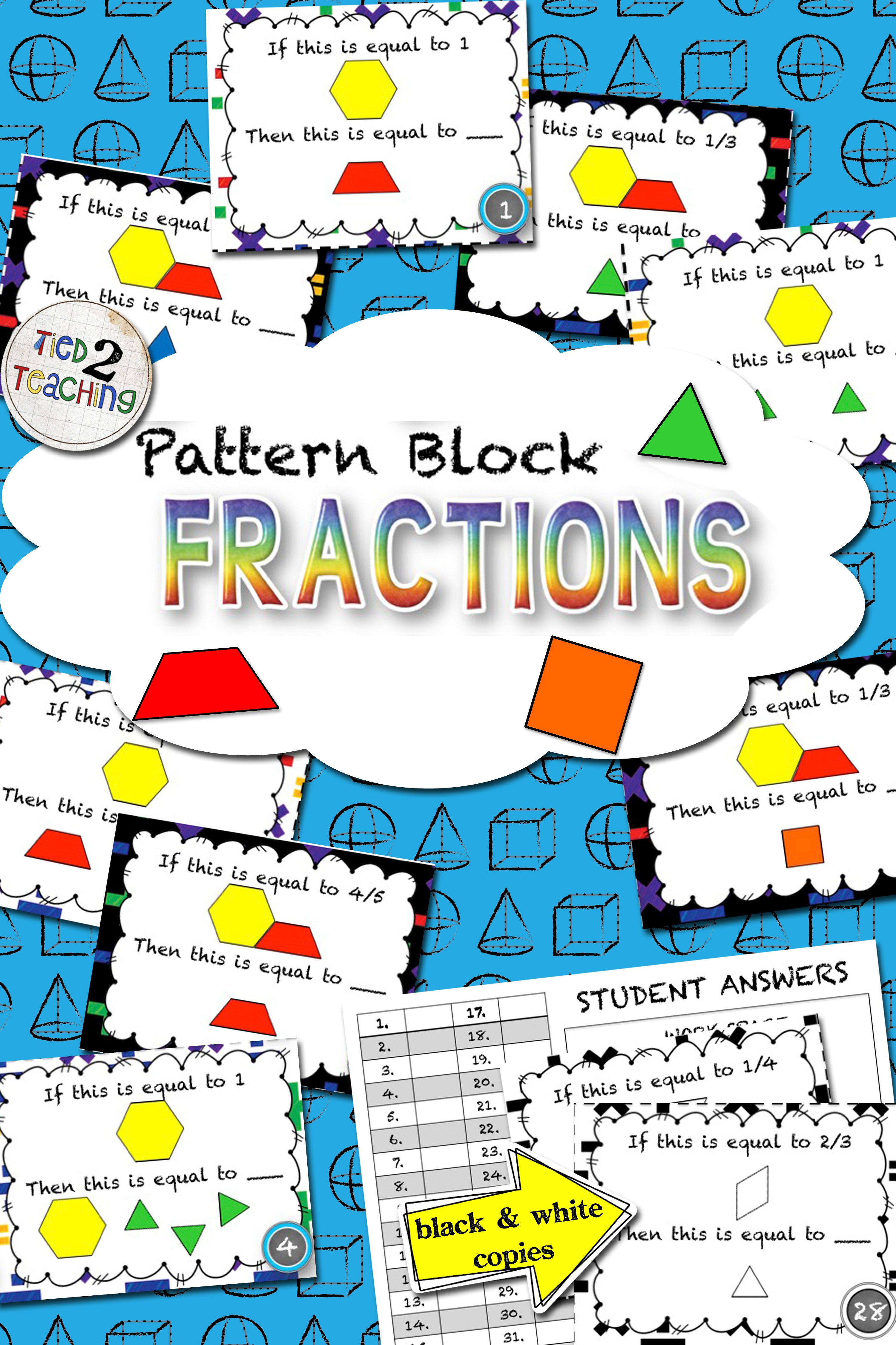 Pattern Block Fractions Task Cards Middle Grades