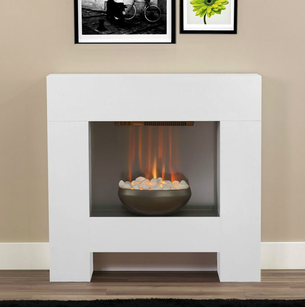 Modern Electric Fire Suites Part - 36: Electric White Surround Pebble Fire Modern Contemporary Wall Fireplace Suite