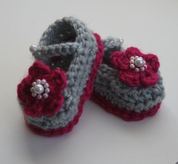 Baby Booties Infant Girl Crib Shoes Crochet Newborn Mary Janes Knit ...