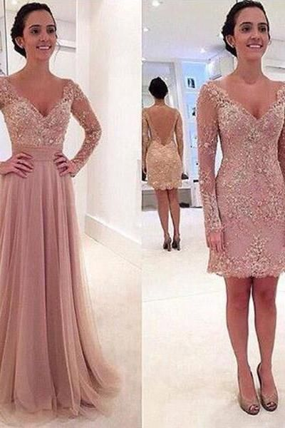 Long Sleeve 2 Piece Prom Dresses Detachable Skirt Blush V-neck Sexy Low Cut  Open Back robe de bal longue CS269 b65014caee99