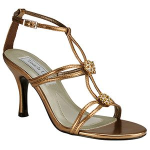 Stunning Bronze Evening Shoes Featuring Sunburst Rhinestone Ornaments On Double Strand T Straps Adjule Ankle Guarantee A Perfect Fit
