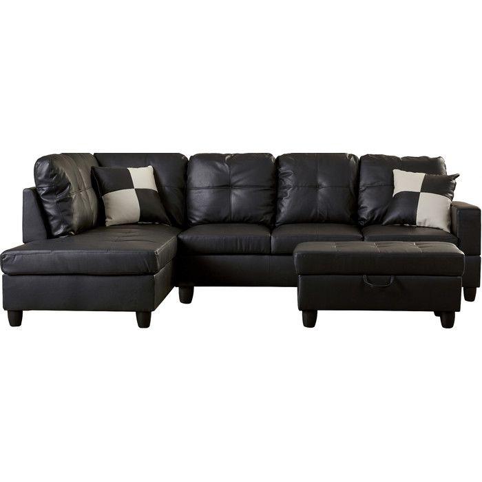 Andover Mills Russ Sectional Reviews Wayfair Leather Sectional Sofas Leather Sectional Sectional Sofa