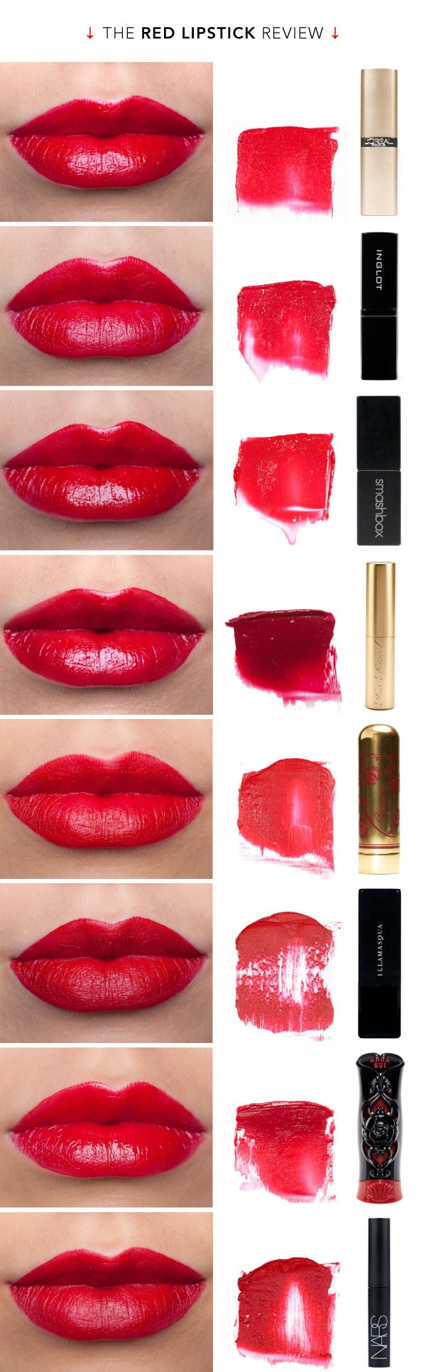 The Red Lipstick Review - The fourth one down would probably look good on me (it's blue red).  I only wear lipstick a few times a year but have been looking for a good red for YEARS, and I can't have anything with an orange undertone.
