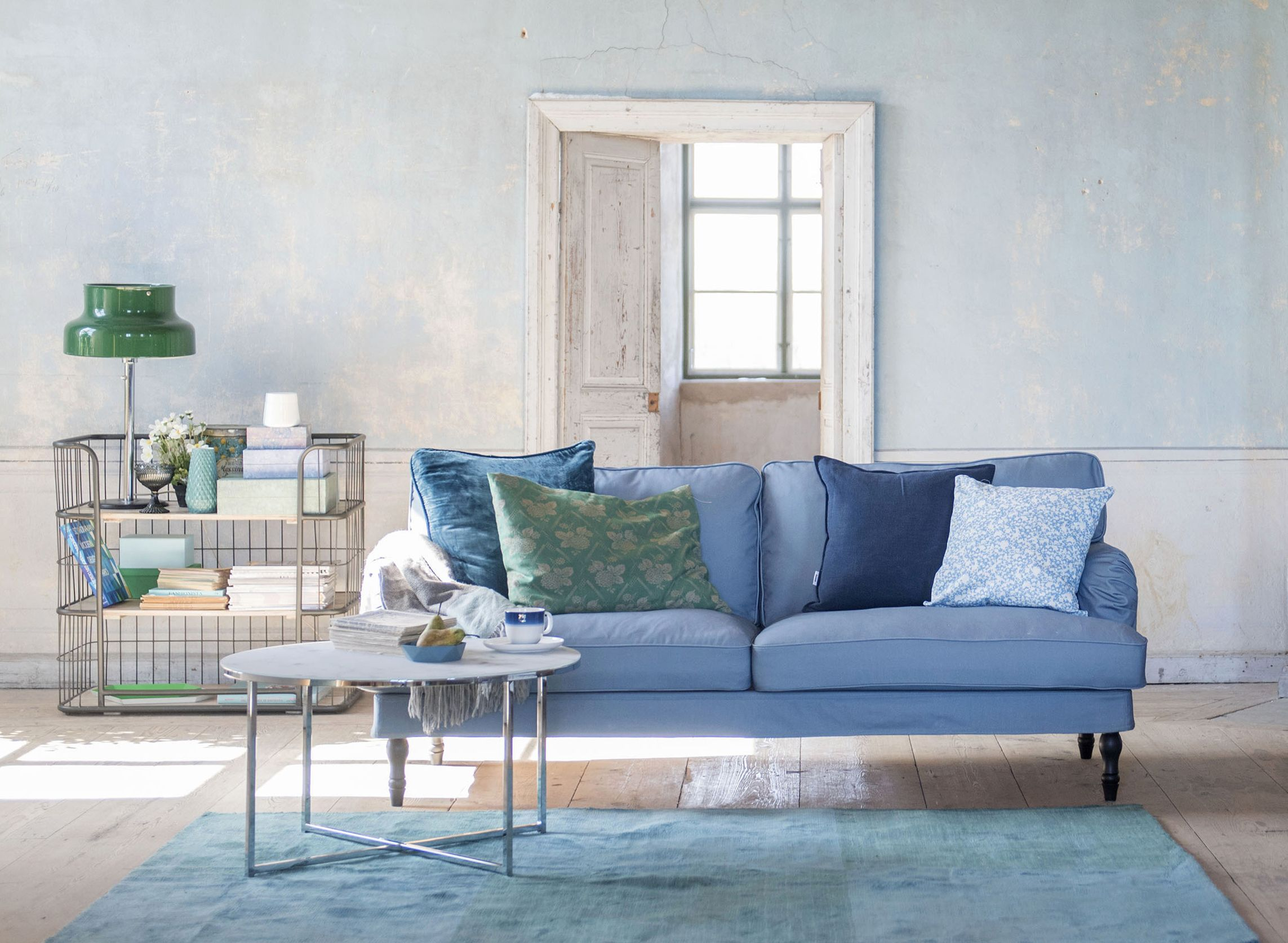 Shades of blue Stocksund 3 seater sofa cover in Steel Blue Panama