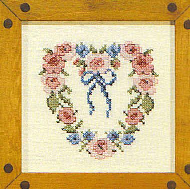 Stamped Cross Stitch Samplers | Country Stitching Heart of Roses Stamped Cross Stitch Kit