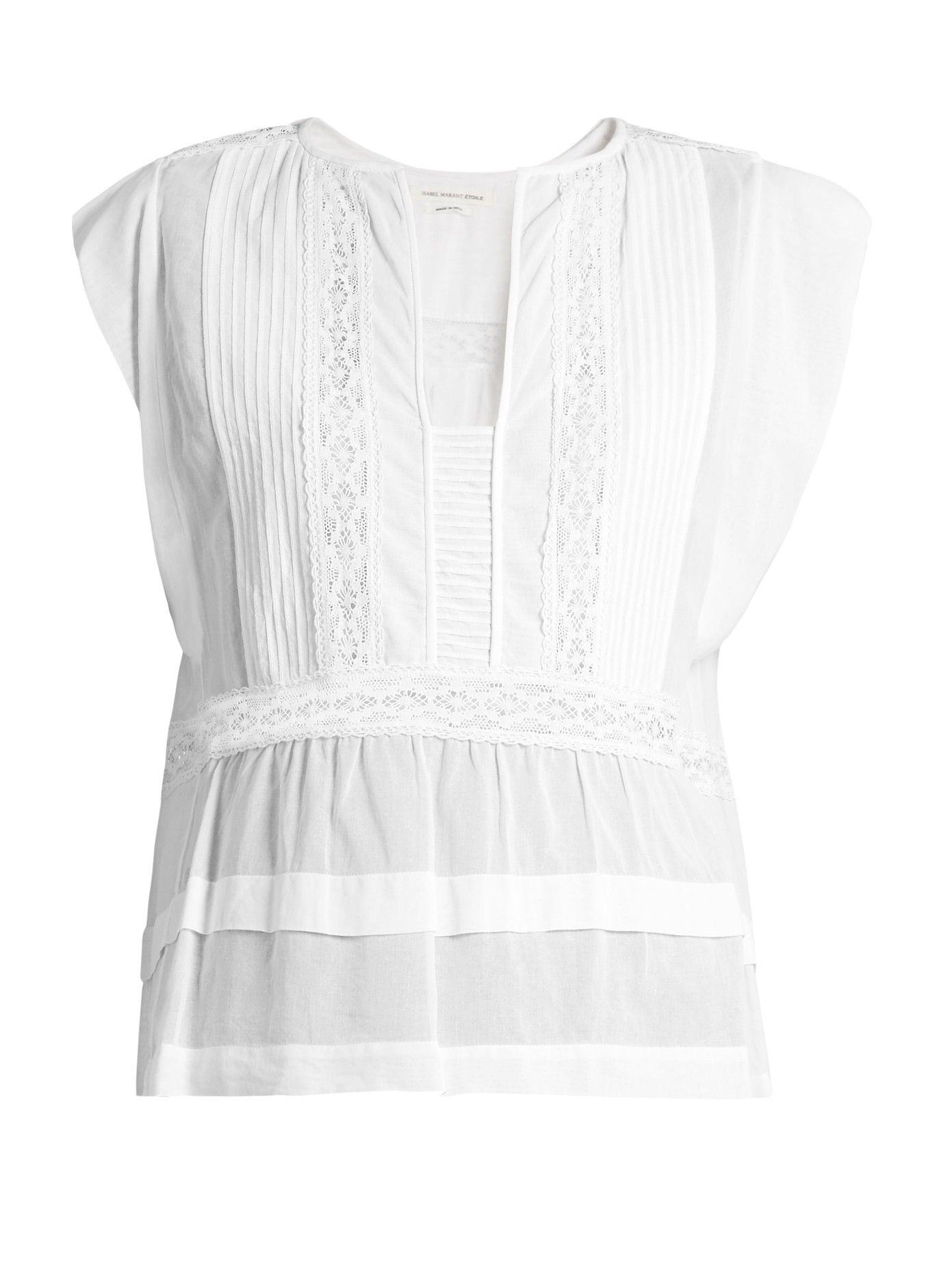 7c31cfaa09 Isabel Marant Étoile's Rodge top is crafted from sheer cotton-poplin,  reflecting the label's effortless Parisian style. The ruffle-capped sleeves  and ...