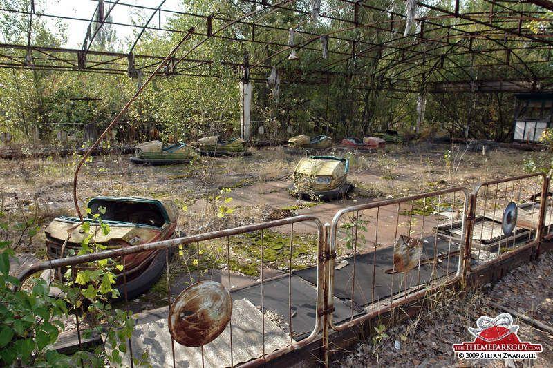 Bumper cars at abandoned fairground near Chernobyl
