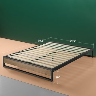 Priage By Zinus Ironline 10 Inch Metal And Wood Platforma Bed Wood Slat Support King Brown In 2019 Wood Slats Wood Beds Bed Frame