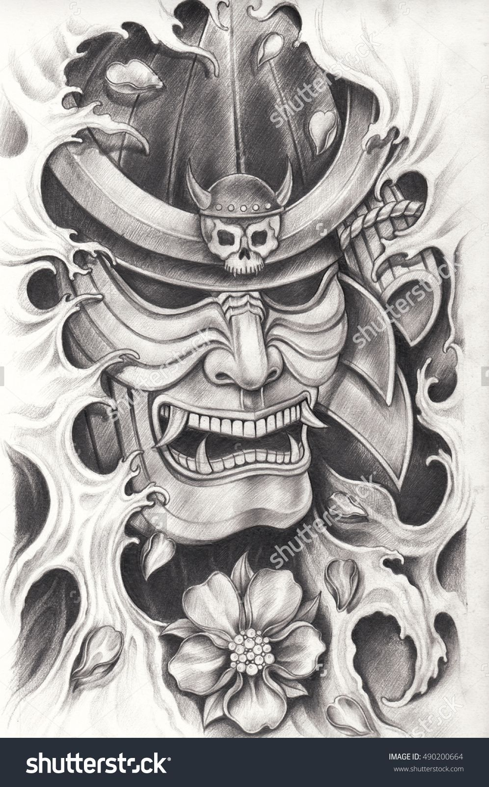 samurai warrior tattoo design hand pencil drawing on paper. Black Bedroom Furniture Sets. Home Design Ideas