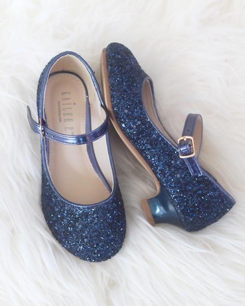 NAVY BLUE Glitter Maryjane Heels
