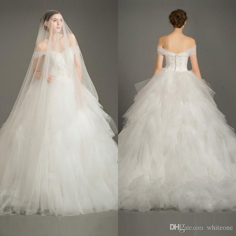 Beach Wedding Gowns Off Shoulder 2016 A Line Tiers Wedding Dress ...