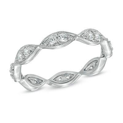 12 CT TW Diamond VintageStyle Eternity Wedding Band in 14K