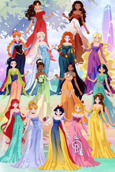 Disney Princesses With Elsa Ana Elena And Moana All Disney