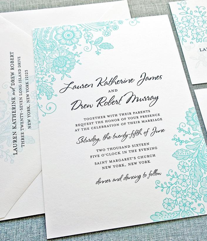 Gorgeous wedding invitation in aqua Wedding Invitations