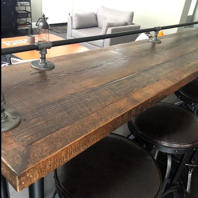 Rustic Reclaimed Wood Industrial Bar Sofa Table Console Etsy In 2020 Rustic Reclaimed Wood Reclaimed Wood Table Sofa Table