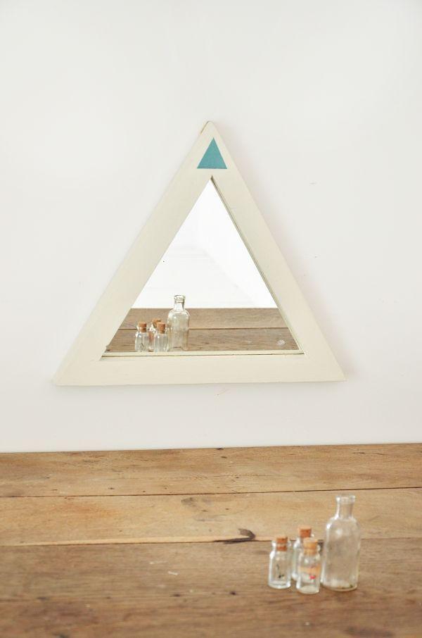 home decor - mirror - triangle - wood - white - decoration - on wall @redesigbyagnieszka