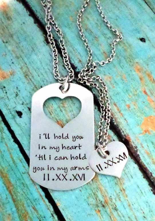 d8251ea51a Long Distance, Deployment Gift, Couple's Necklace Set, Carry Your Heart,  Heart Jewelry, Matching Set, Boyfriend Gift, Girlfriend Gift by  HandmadeLoveStories ...