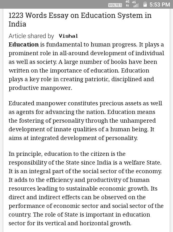 Essay on education system in india