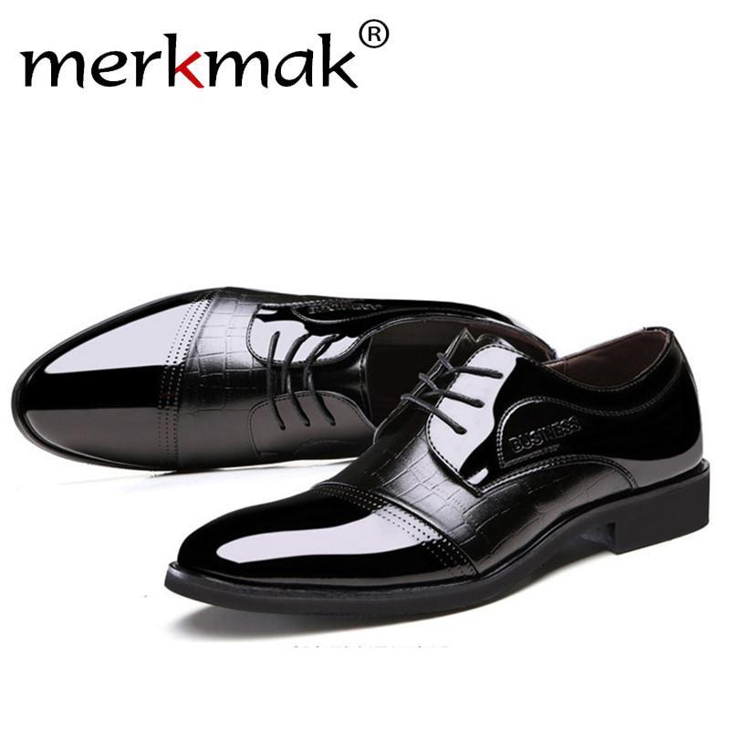 Luxury Brand Patent Leather Shoes Men Oxfords Men's Flats