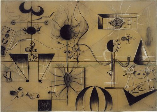 Joan Miró 1924. Charcoal, chalk, and conté crayon on flocked paper. 74.1 x 104.0 cm. MoMa