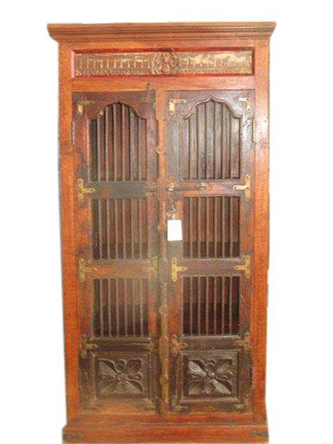 Vintage Hand Carved Cabinet Teak Rustic Armoire Indian Furniture