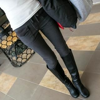 Drawstring-Waist Brushed Fleece Skinny Pants