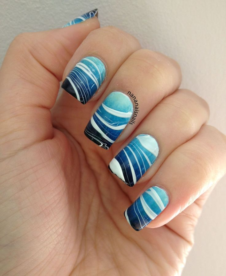 Ocean theme water marble nail art #nailart #nails #design  http://www.atalskinsolutions.com/ - 5 Cute And Dainty Nail Art Designs With A White Base Pinterest