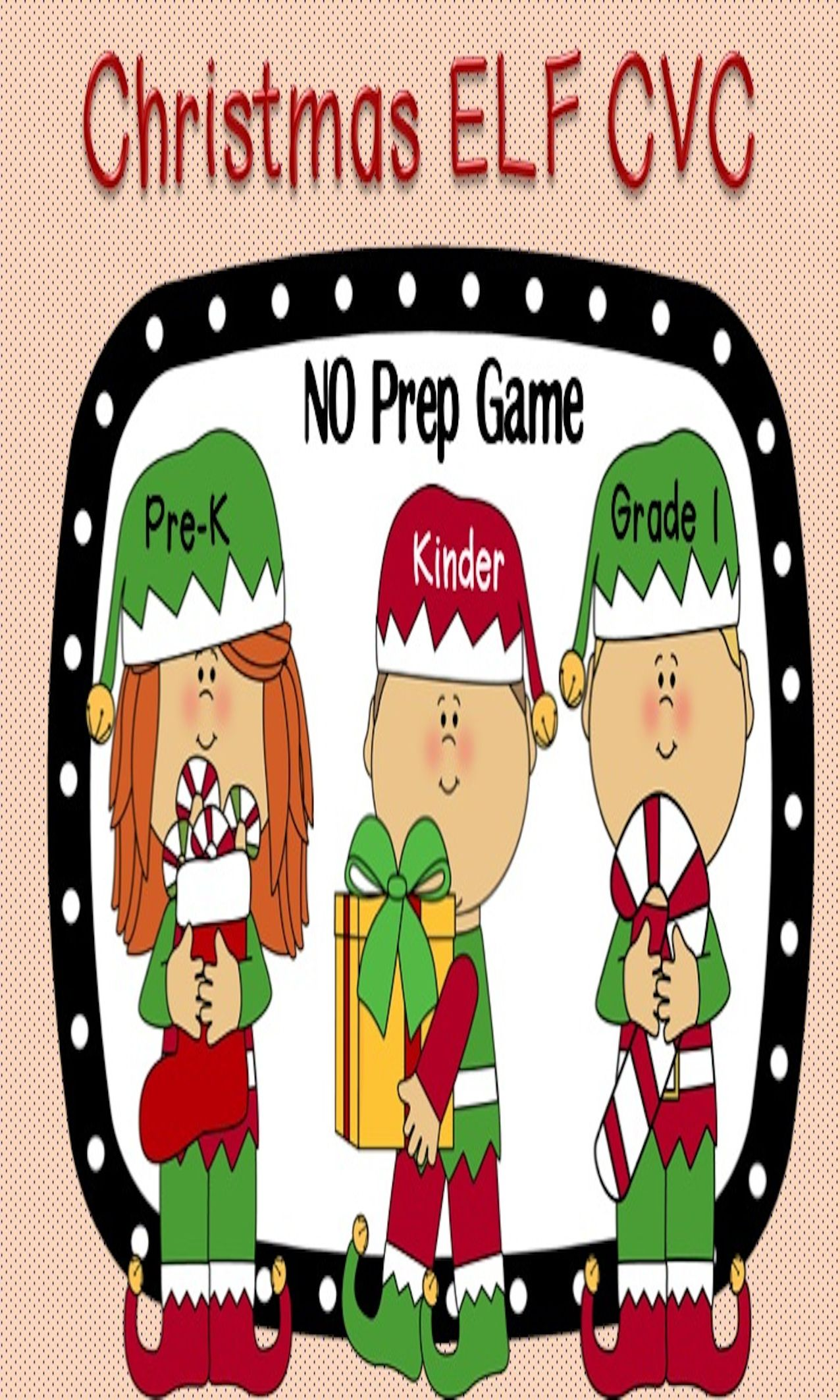 Christmas Elf Cvc Word Work Game No Prep