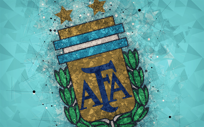 Download Wallpapers Argentina National Football Team 4k Geometric Art Logo Blue Abstract Background Emblem Argentina Football Grunge Style Creative Art Sports Wallpapers Geometric Art Art Logo
