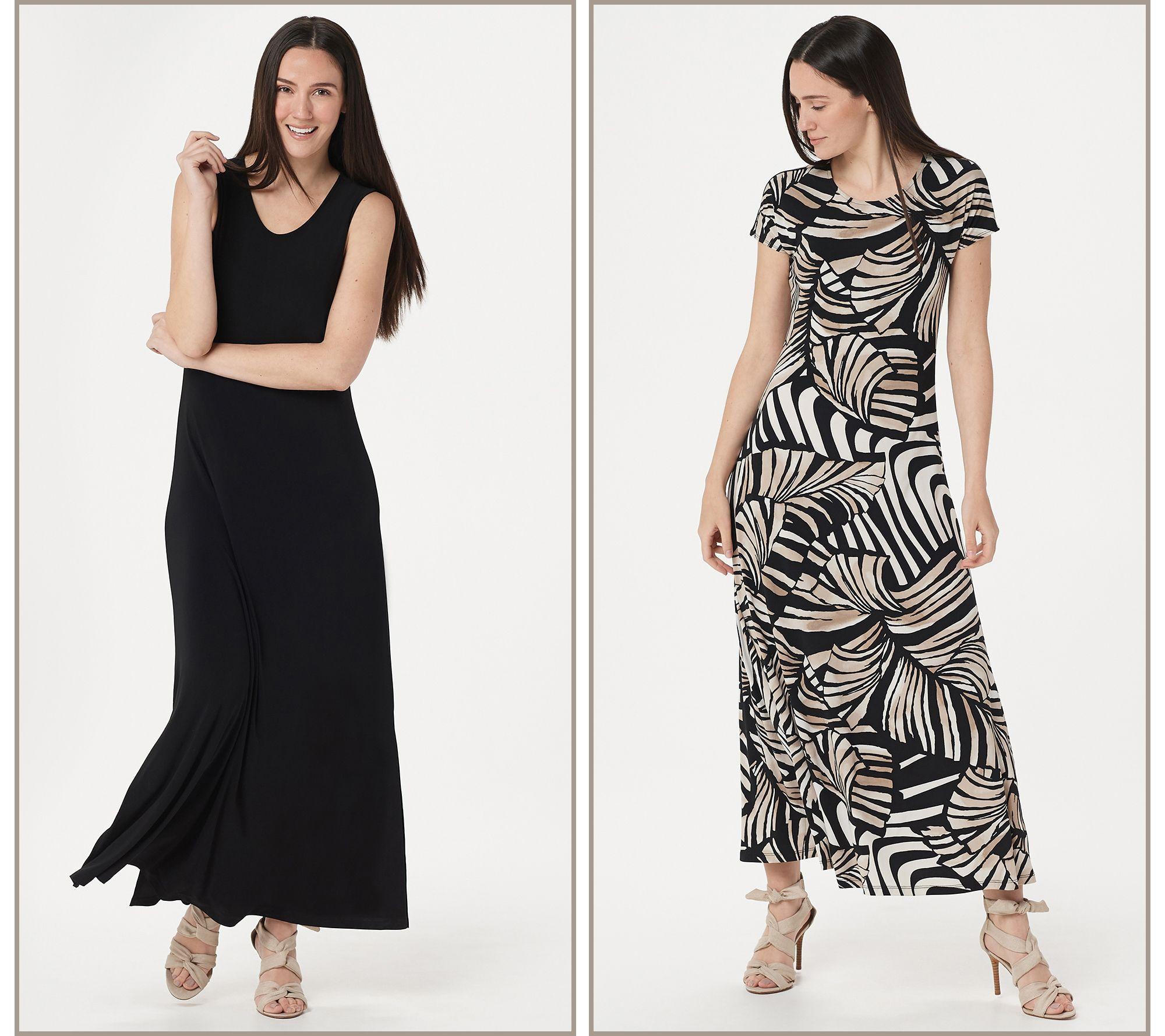 Attitudes By Renee Regular Como Jersey Set Of 2 Maxi Dresses Qvc Com Maxi Dress Summertime Dresses Women With Control [ 1778 x 2000 Pixel ]