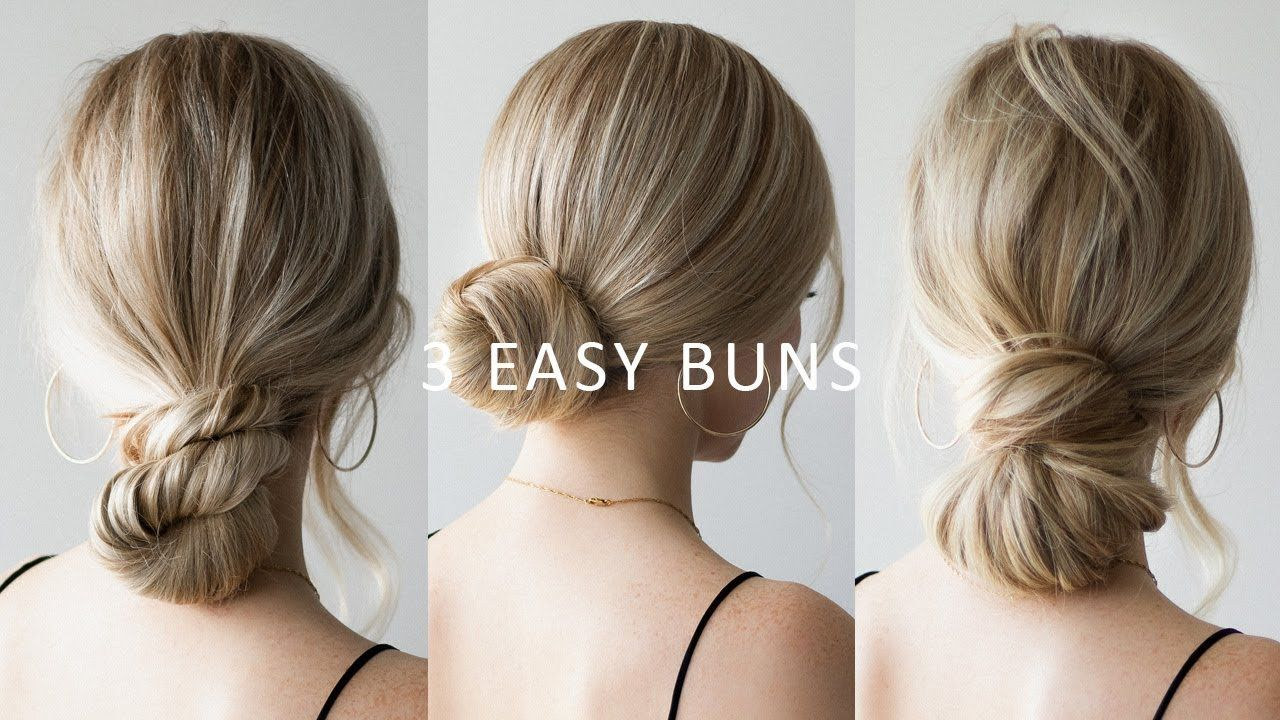 How To 3 Easy Low Bun Hairstyles Perfect For Prom Weddings Work Easy Bun Hairstyles Low Bun Hairstyles Bun Hairstyles