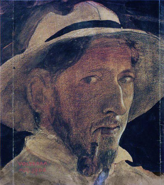 1908 John Bauer Self-Portrait  watercolour on paper 18 x 19 cm  Jönköping Country Museum, Sweden jpg (568×640)
