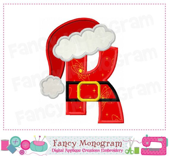 Christmas Monogram K Applique Letter Ksanta Claus By Fancymonogram