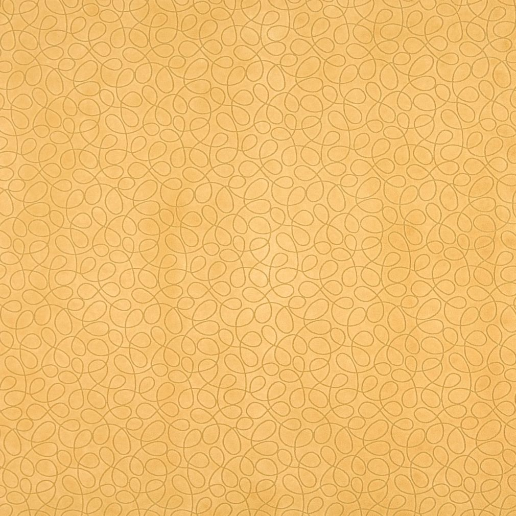 Yellow Abstract Curls Microfiber Upholstery Fabric By The Yard