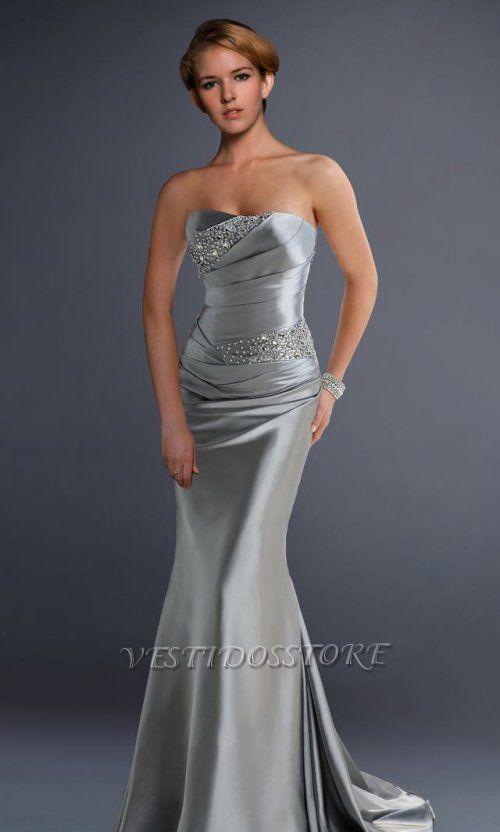 118981514f Elegante Strapless Sirena Plata Vestido Largo de Fiesta VSS025  VSS025  -  €147.24
