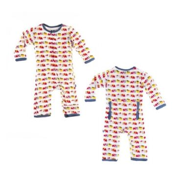 Print Coverall in Boy Elephant