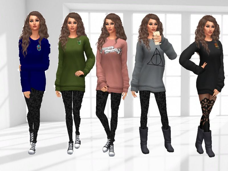 If You Love Magic And In Particular The Harry Potter World You Will Need This Sweater This Is A Recolor With 7 Differen Sims Sims 4 Clothing Sims 4 Toddler