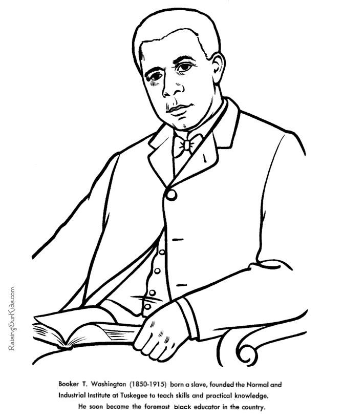Booker T Washington American History For Kid Coloring Pages