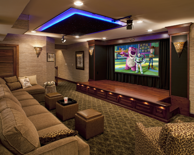 This Basement Home Theater Features A 110 Screen For Movies And