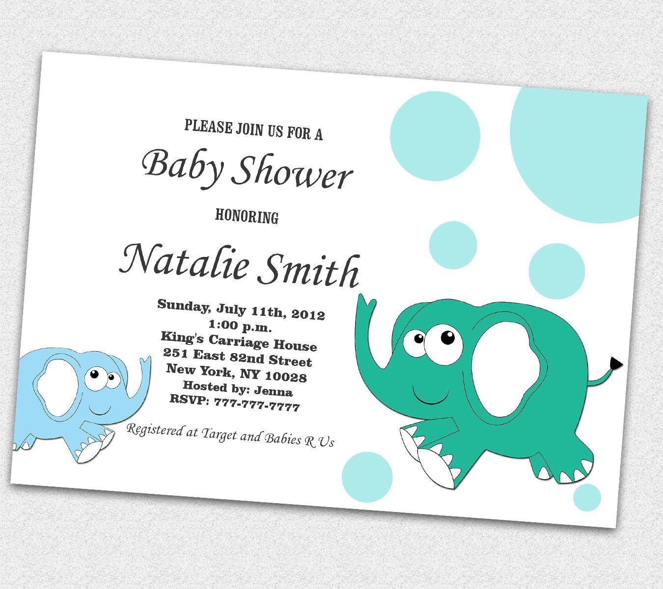 Elephant Baby Shower Invitations Boy Baby Shower Invitations ...